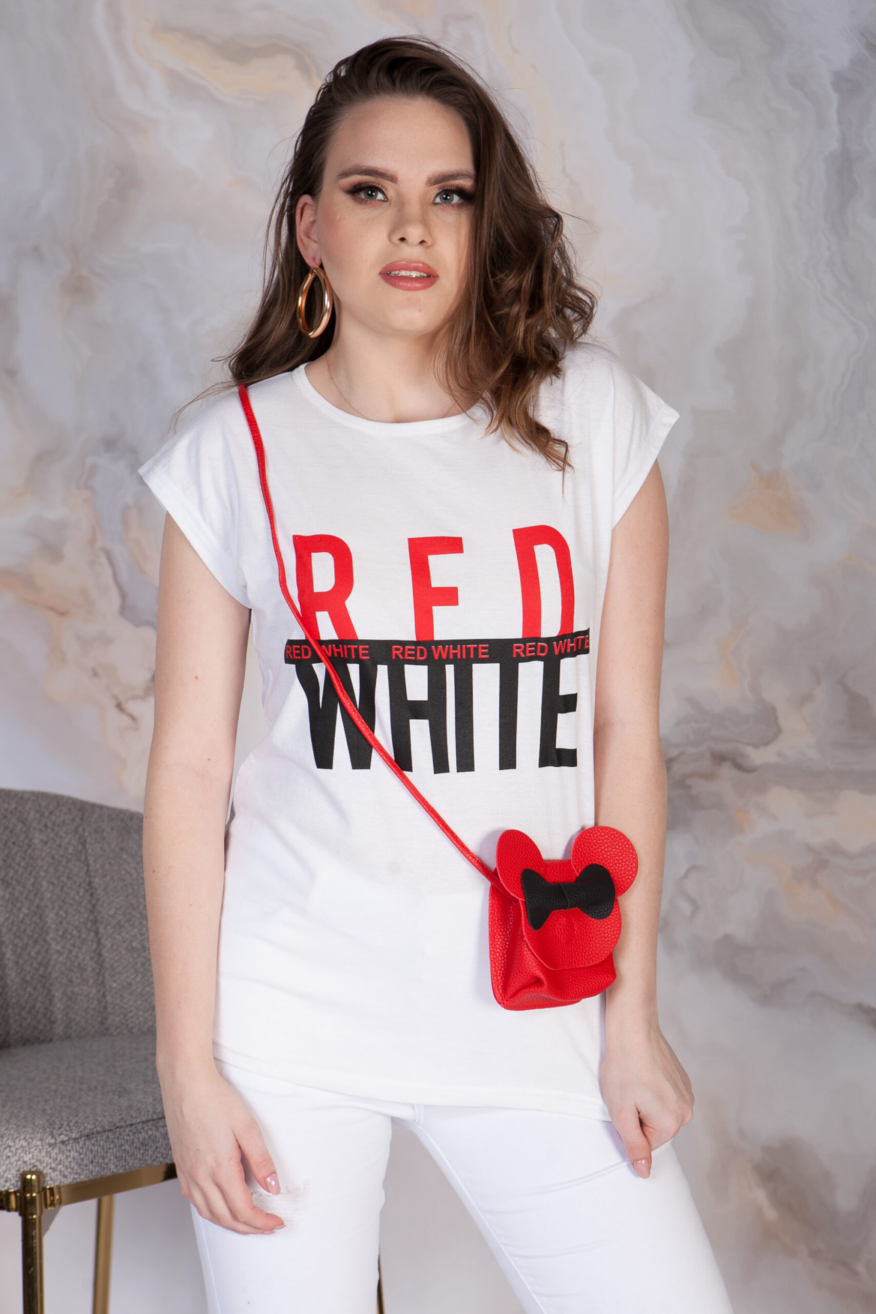 T-SHIRT RED-WHITE
